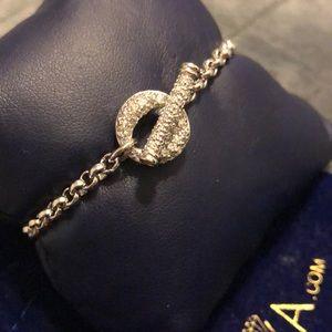 Netaya Sterling Silver Pave CZ O-Ring Bracelet